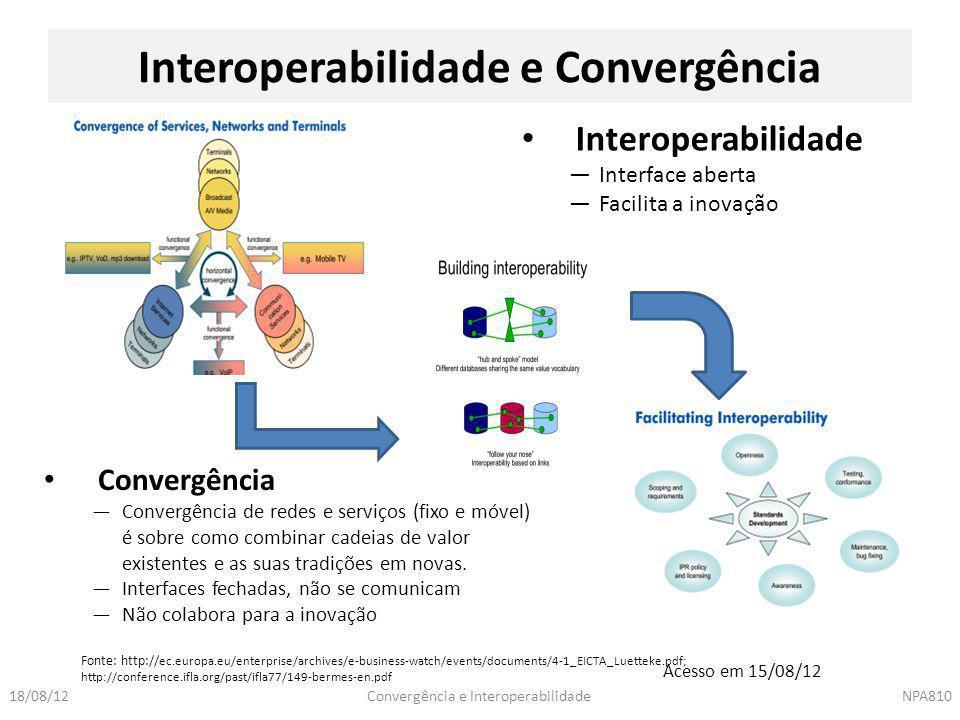 Convergência e InteroperabilidadeNPA81018/08/12 Interoperabilidade e Convergência Fonte: http:// ec.europa.eu/enterprise/archives/e-business-watch/eve