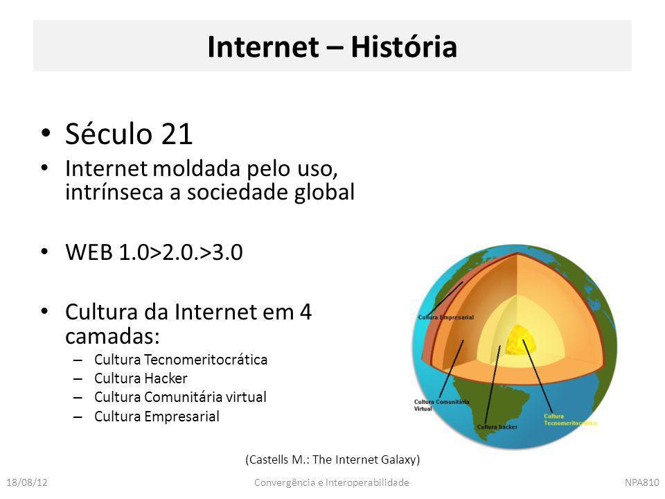 Convergência e InteroperabilidadeNPA81018/08/12 Culturas da Internet Cultura Tecnomeritocrática Cultura Hacker Voltada para projetos tecnológicos Big Science Berço da Internet Ligada a Criatividade e Genialidade.
