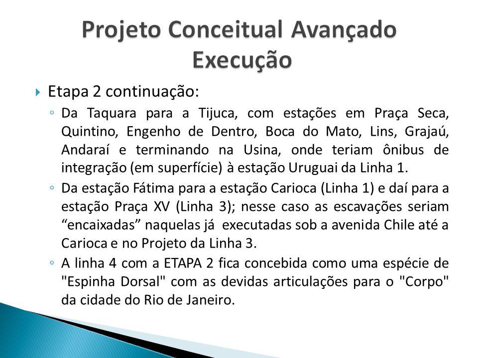  Etapa 2 continuação: ◦ Da Taquara para a Tijuca, com estações em Praça Seca, Quintino, Engenho de Dentro, Boca do Mato, Lins, Grajaú, Andaraí e term