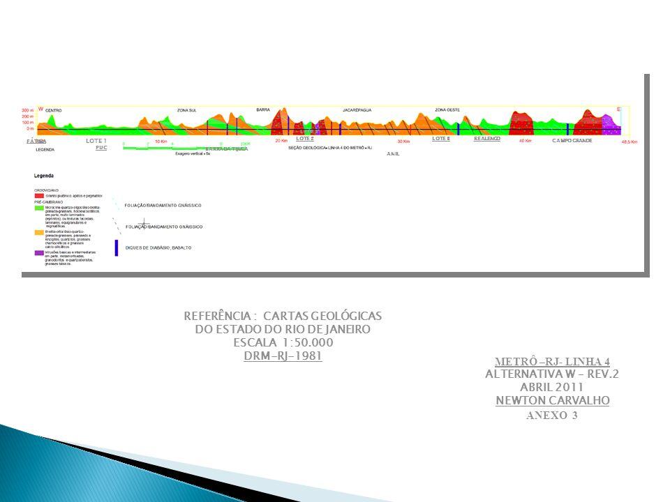 LOTE 2 REALENGO ANIL LOTE 3 BARRA DA TIJUCA LOTE 1 PUC CAMPO GRANDE FÁTIMA REFERÊNCIA : CARTAS GEOLÓGICAS DO ESTADO DO RIO DE JANEIRO ESCALA 1:50.000