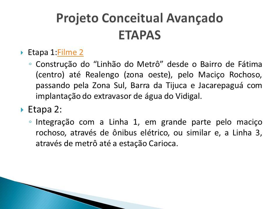 """ Etapa 1:Filme 2Filme 2 ◦ Construção do """"Linhão do Metrô"""" desde o Bairro de Fátima (centro) até Realengo (zona oeste), pelo Maciço Rochoso, passando"""