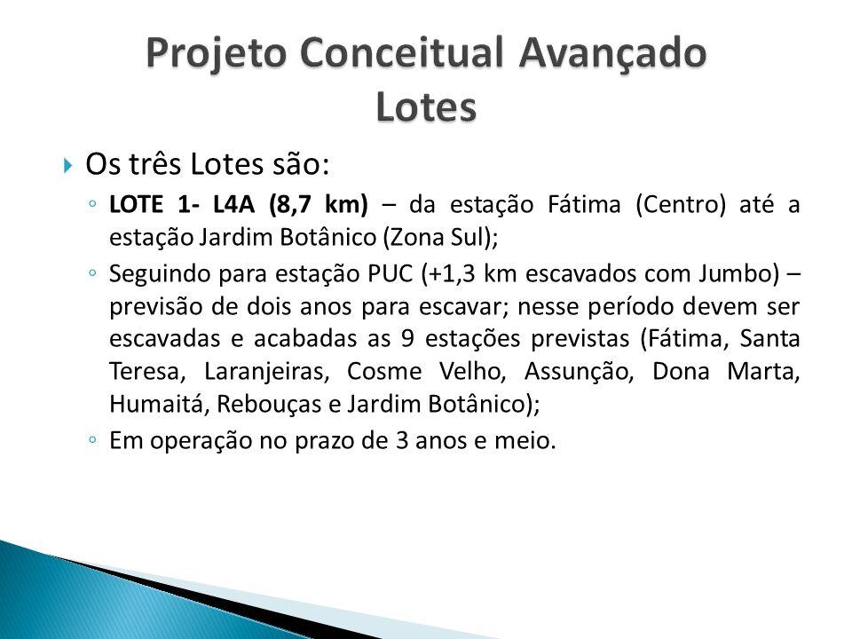  Os três Lotes são: ◦ LOTE 1- L4A (8,7 km) – da estação Fátima (Centro) até a estação Jardim Botânico (Zona Sul); ◦ Seguindo para estação PUC (+1,3 k