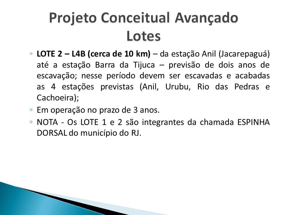 ◦ LOTE 2 – L4B (cerca de 10 km) – da estação Anil (Jacarepaguá) até a estação Barra da Tijuca – previsão de dois anos de escavação; nesse período deve