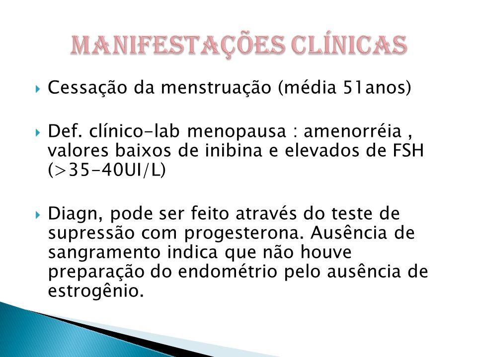  Cessação da menstruação (média 51anos)  Def.