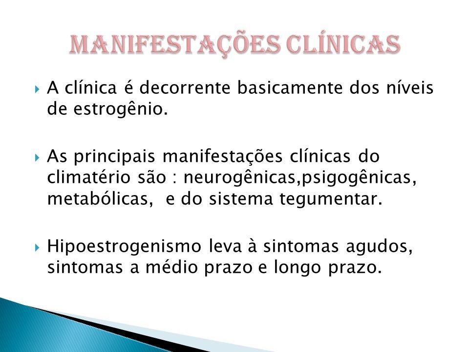  A clínica é decorrente basicamente dos níveis de estrogênio.