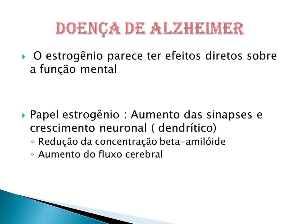  O estrogênio parece ter efeitos diretos sobre a função mental  Papel estrogênio : Aumento das sinapses e crescimento neuronal ( dendrítico) ◦ Redução da concentração beta-amilóide ◦ Aumento do fluxo cerebral