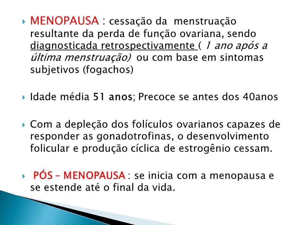 MENOPAUSA : cessação da menstruação resultante da perda de função ovariana, sendo diagnosticada retrospectivamente ( 1 ano após a última menstruação) ou com base em sintomas subjetivos (fogachos)  Idade média 51 anos; Precoce se antes dos 40anos  Com a depleção dos folículos ovarianos capazes de responder as gonadotrofinas, o desenvolvimento folicular e produção cíclica de estrogênio cessam.
