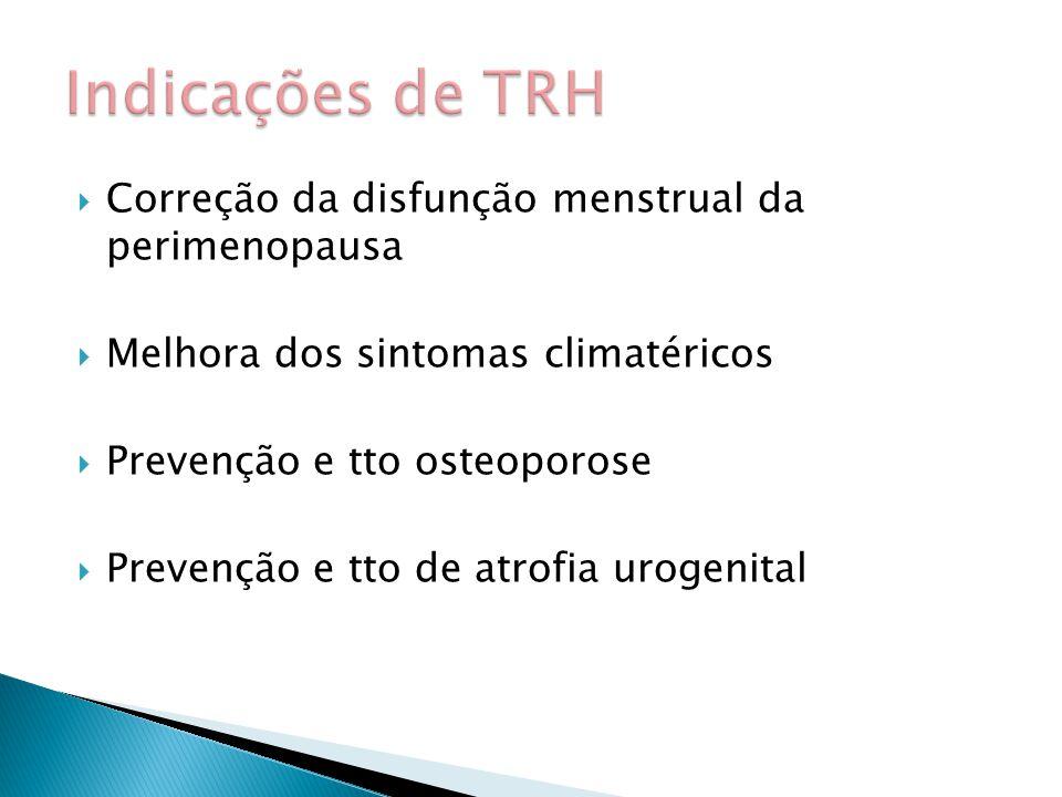  Correção da disfunção menstrual da perimenopausa  Melhora dos sintomas climatéricos  Prevenção e tto osteoporose  Prevenção e tto de atrofia urogenital