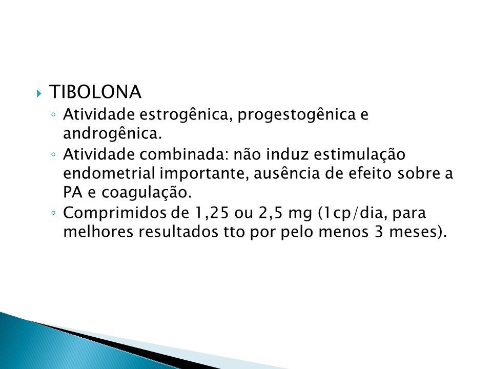  TIBOLONA ◦ Atividade estrogênica, progestogênica e androgênica.