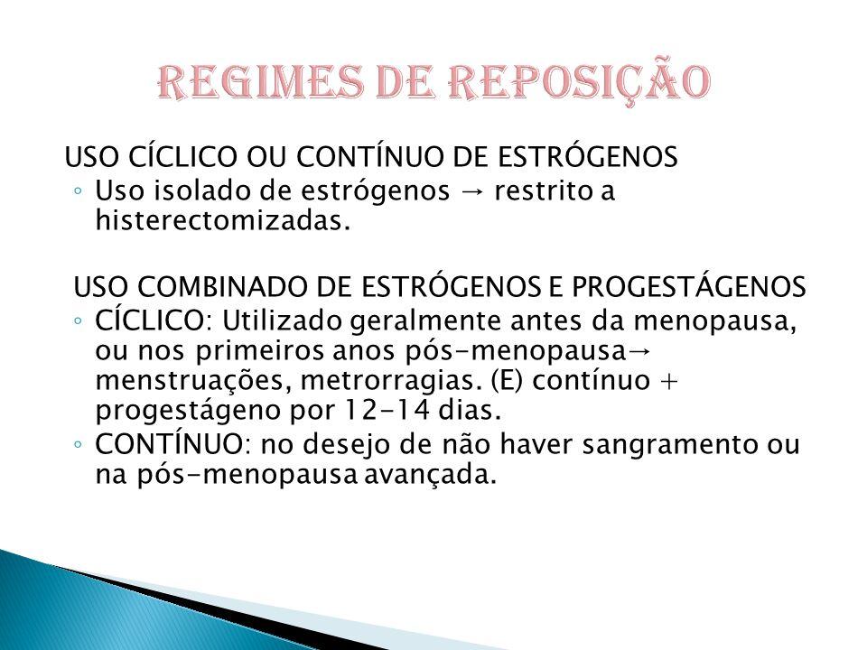 USO CÍCLICO OU CONTÍNUO DE ESTRÓGENOS ◦ Uso isolado de estrógenos → restrito a histerectomizadas.