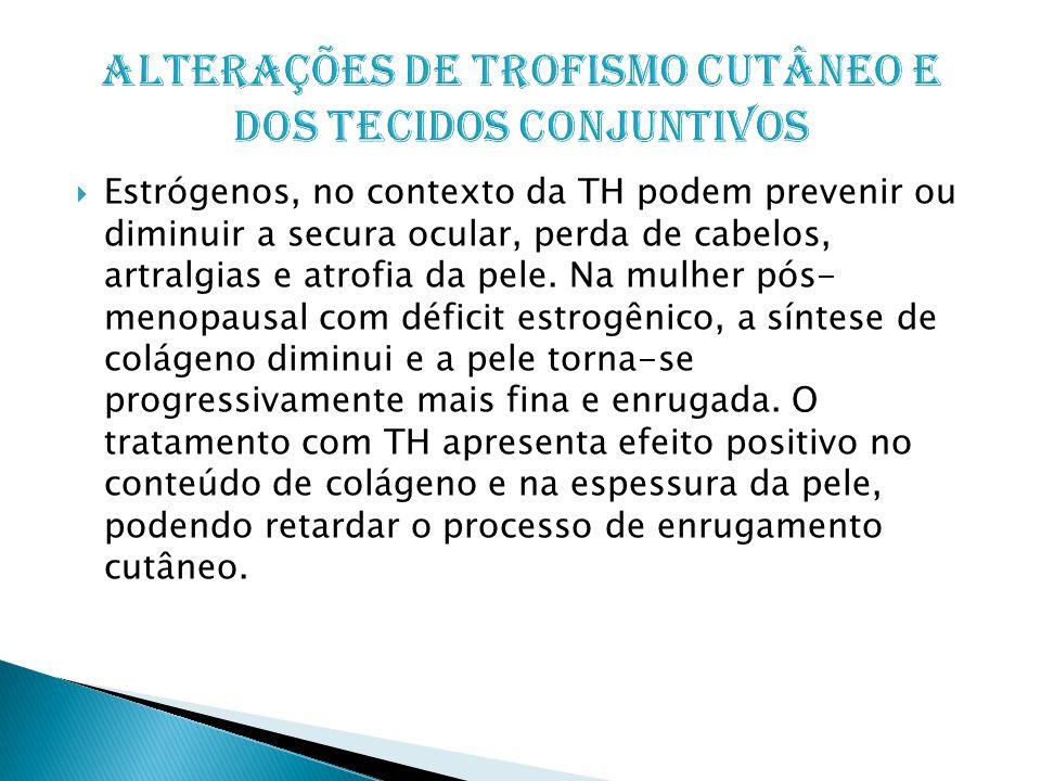  Estrógenos, no contexto da TH podem prevenir ou diminuir a secura ocular, perda de cabelos, artralgias e atrofia da pele.