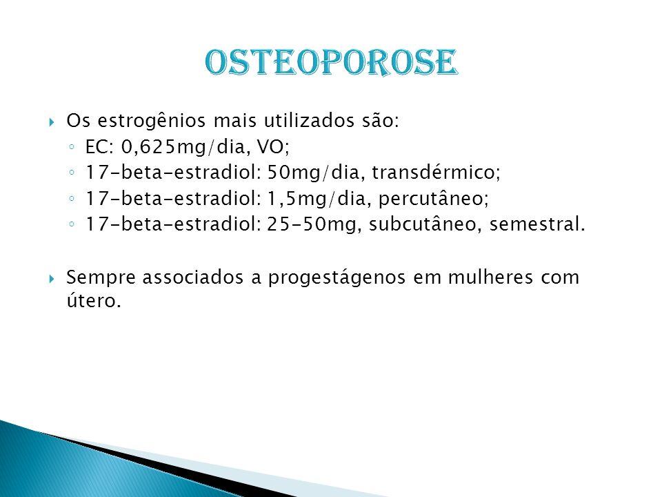  Os estrogênios mais utilizados são: ◦ EC: 0,625mg/dia, VO; ◦ 17-beta-estradiol: 50mg/dia, transdérmico; ◦ 17-beta-estradiol: 1,5mg/dia, percutâneo; ◦ 17-beta-estradiol: 25-50mg, subcutâneo, semestral.