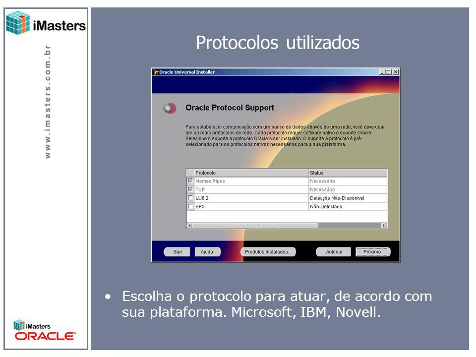 Protocolos utilizados Escolha o protocolo para atuar, de acordo com sua plataforma.