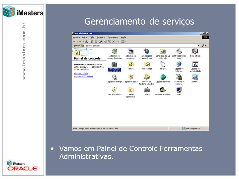 Gerenciamento de serviços Vamos em Painel de Controle Ferramentas Administrativas.
