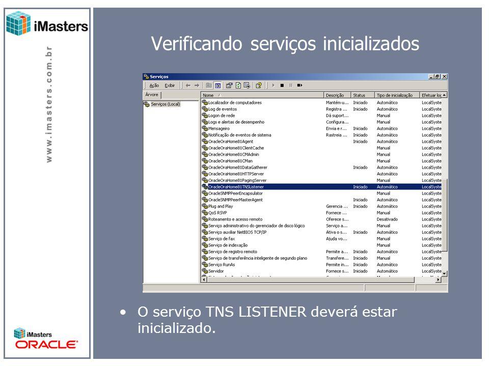 Verificando serviços inicializados O serviço TNS LISTENER deverá estar inicializado.