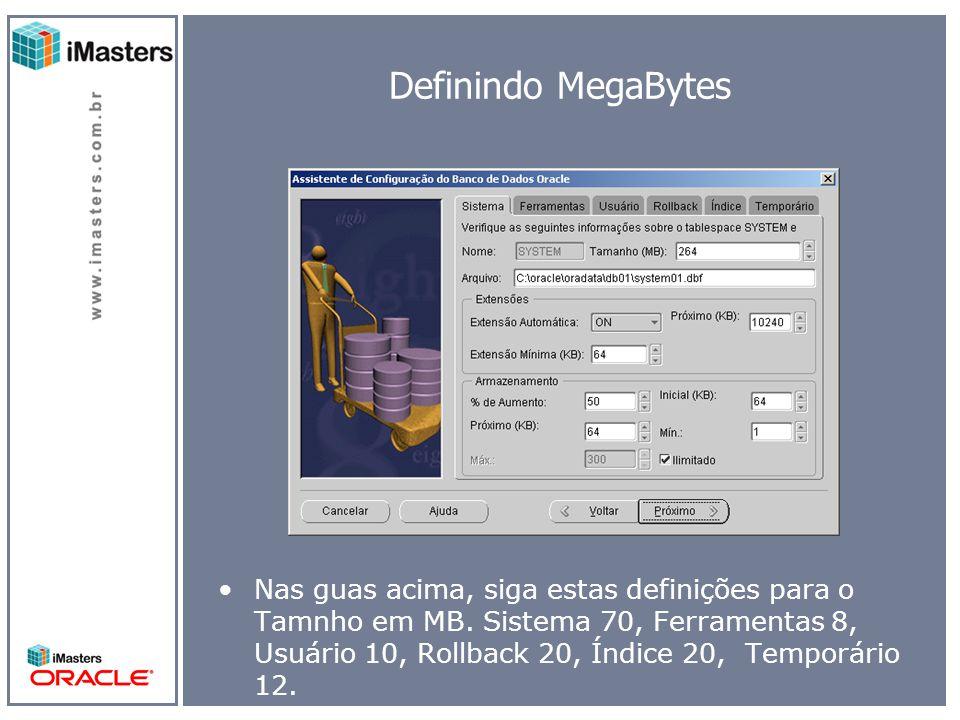 Definindo MegaBytes Nas guas acima, siga estas definições para o Tamnho em MB.