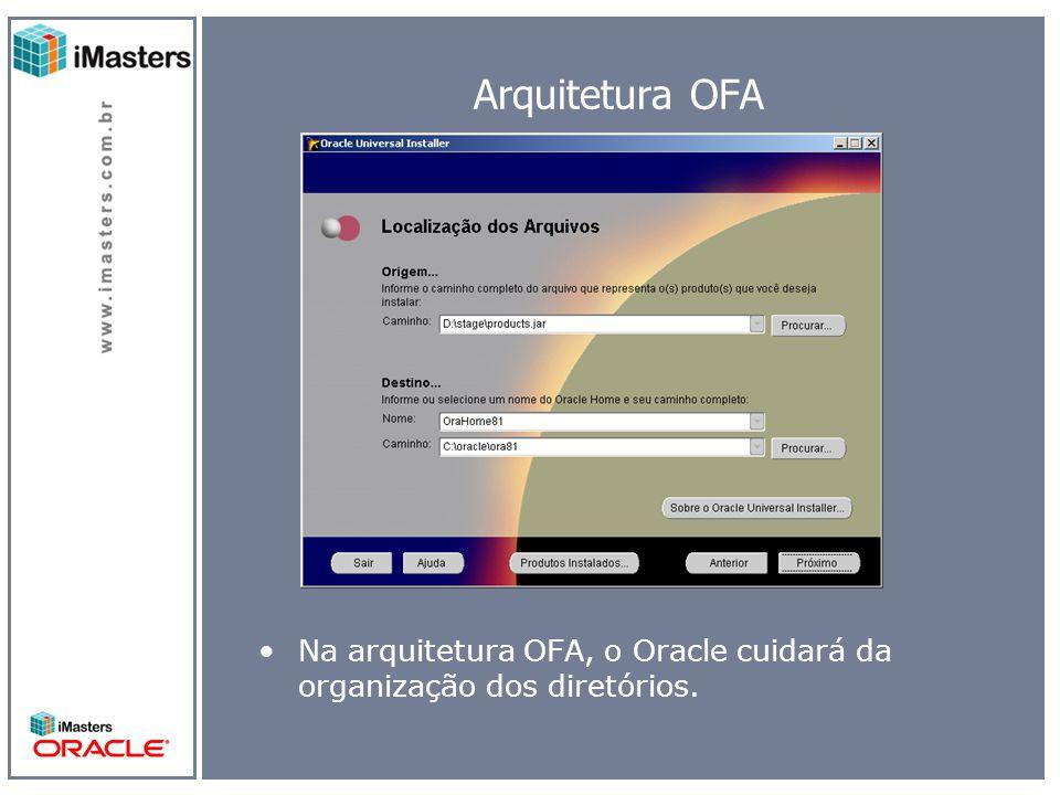 Arquitetura OFA Na arquitetura OFA, o Oracle cuidará da organização dos diretórios.