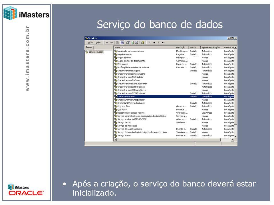 Serviço do banco de dados Após a criação, o serviço do banco deverá estar inicializado.