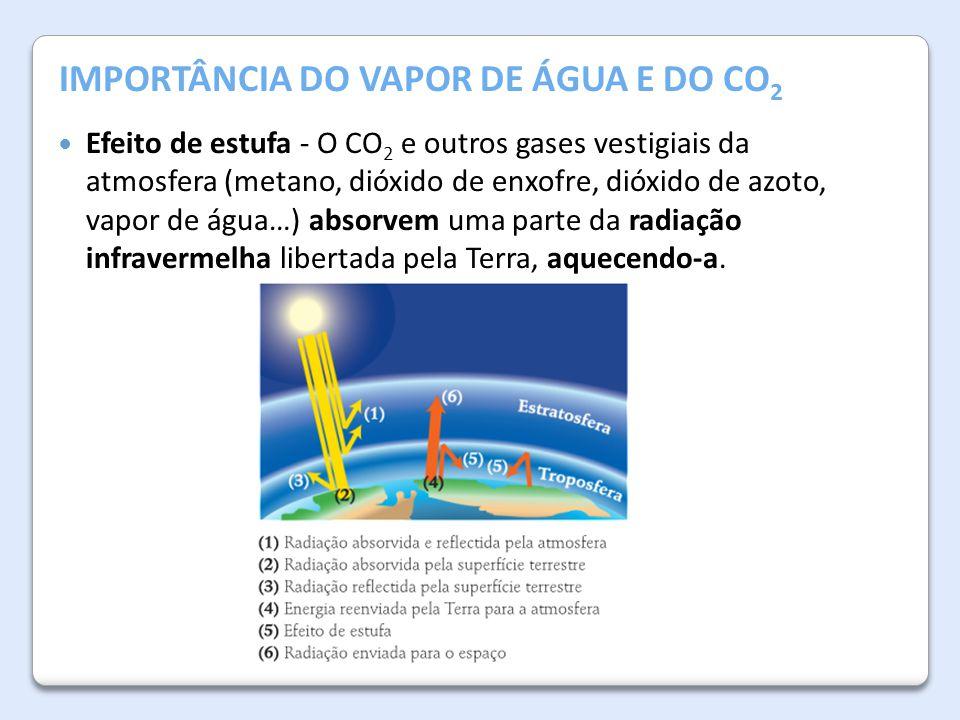A Atmosfera da Terra IMPORTÂNCIA DO VAPOR DE ÁGUA E DO CO 2 Efeito de estufa - O CO 2 e outros gases vestigiais da atmosfera (metano, dióxido de enxof