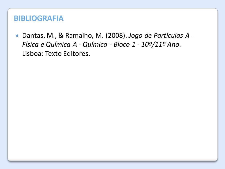 Dantas, M., & Ramalho, M. (2008). Jogo de Partículas A - Física e Química A - Química - Bloco 1 - 10º/11º Ano. Lisboa: Texto Editores. BIBLIOGRAFIA