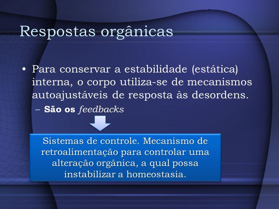 Respostas orgânicas Para conservar a estabilidade (estática) interna, o corpo utiliza-se de mecanismos autoajustáveis de resposta às desordens. – São