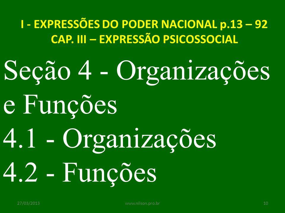 I - EXPRESSÕES DO PODER NACIONAL p.13 – 92 CAP. III – EXPRESSÃO PSICOSSOCIAL Seção 4 - Organizações e Funções 4.1 - Organizações 4.2 - Funções 27/03/2