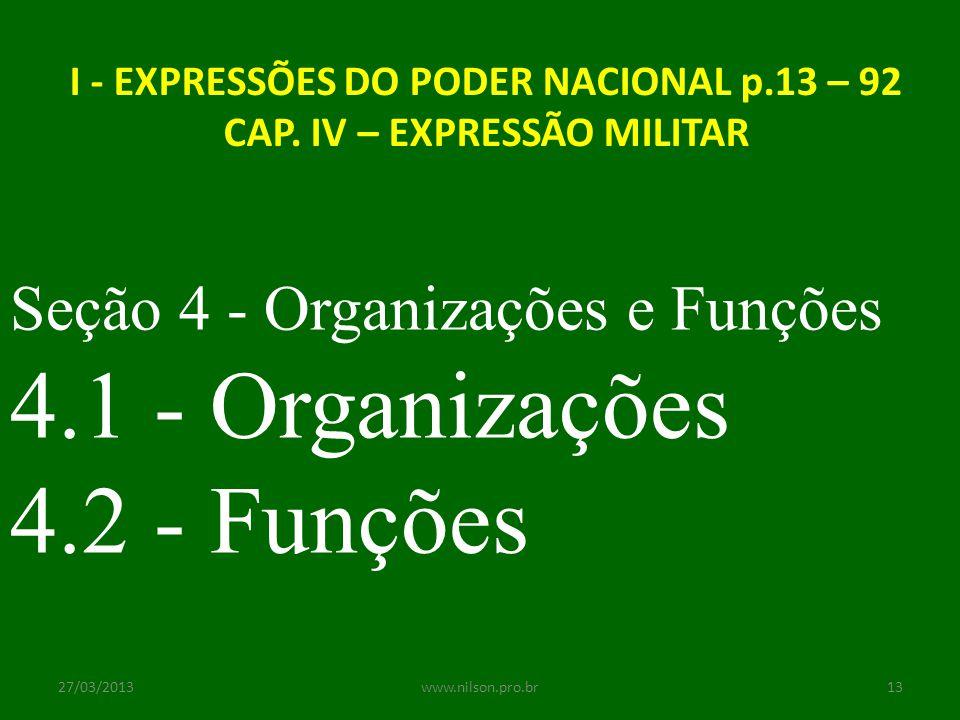 I - EXPRESSÕES DO PODER NACIONAL p.13 – 92 CAP. IV – EXPRESSÃO MILITAR Seção 4 - Organizações e Funções 4.1 - Organizações 4.2 - Funções 27/03/201313w