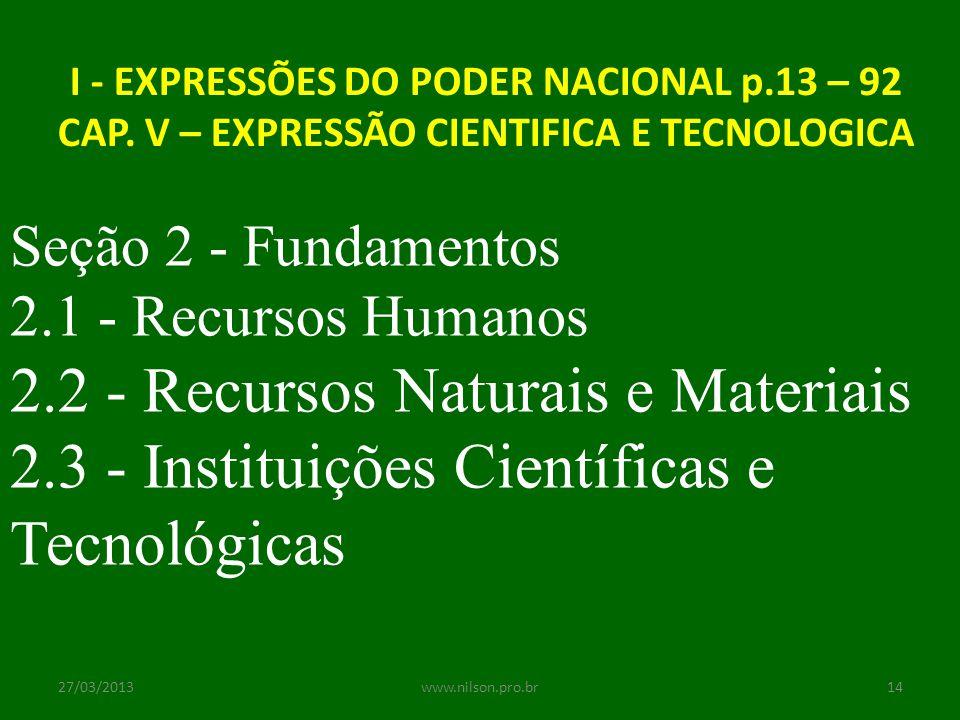 I - EXPRESSÕES DO PODER NACIONAL p.13 – 92 CAP. V – EXPRESSÃO CIENTIFICA E TECNOLOGICA Seção 2 - Fundamentos 2.1 - Recursos Humanos 2.2 - Recursos Nat