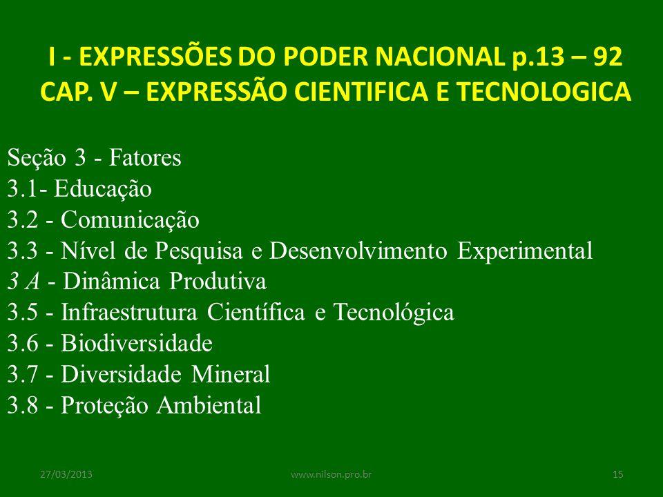 I - EXPRESSÕES DO PODER NACIONAL p.13 – 92 CAP. V – EXPRESSÃO CIENTIFICA E TECNOLOGICA Seção 3 - Fatores 3.1- Educação 3.2 - Comunicação 3.3 - Nível d