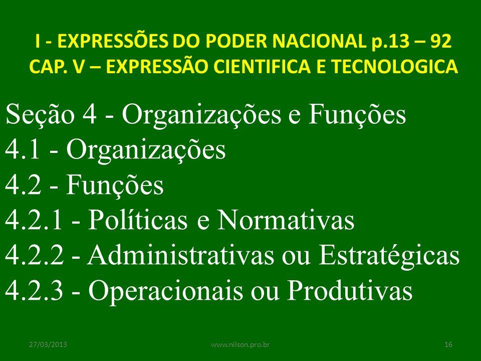 I - EXPRESSÕES DO PODER NACIONAL p.13 – 92 CAP. V – EXPRESSÃO CIENTIFICA E TECNOLOGICA Seção 4 - Organizações e Funções 4.1 - Organizações 4.2 - Funçõ