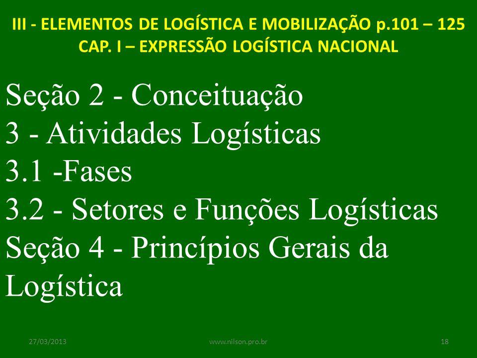 III - ELEMENTOS DE LOGÍSTICA E MOBILIZAÇÃO p.101 – 125 CAP. I – EXPRESSÃO LOGÍSTICA NACIONAL Seção 2 - Conceituação 3 - Atividades Logísticas 3.1 -Fas