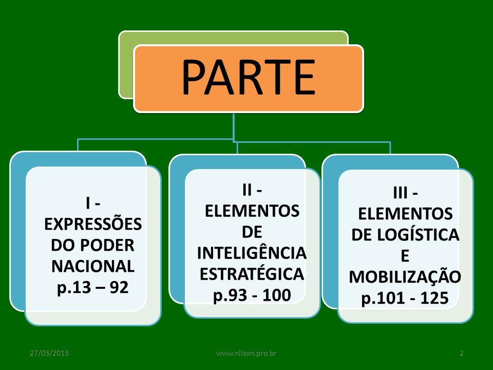 I - EXPRESSÕES DO PODER NACIONAL p.13 – 92 CAP.