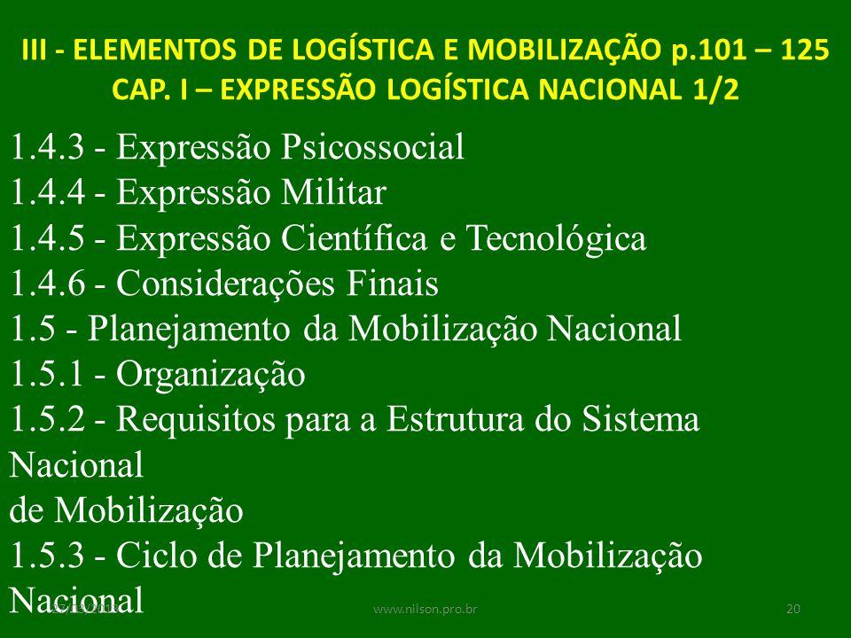 III - ELEMENTOS DE LOGÍSTICA E MOBILIZAÇÃO p.101 – 125 CAP. I – EXPRESSÃO LOGÍSTICA NACIONAL 1/2 1.4.3 - Expressão Psicossocial 1.4.4 - Expressão Mili
