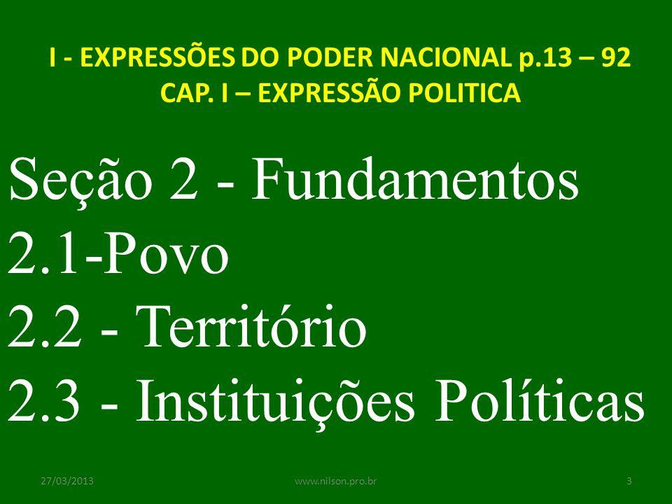 Seção 2 - Fundamentos 2.1-Povo 2.2 - Território 2.3 - Instituições Políticas I - EXPRESSÕES DO PODER NACIONAL p.13 – 92 CAP. I – EXPRESSÃO POLITICA 27