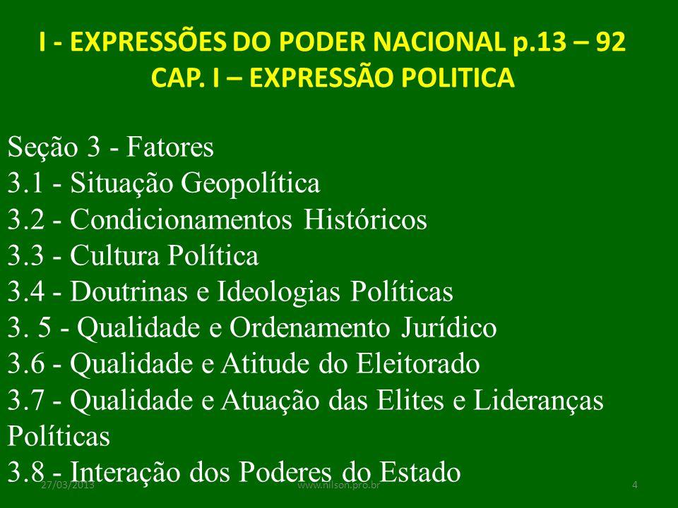 I - EXPRESSÕES DO PODER NACIONAL p.13 – 92 CAP. I – EXPRESSÃO POLITICA Seção 3 - Fatores 3.1 - Situação Geopolítica 3.2 - Condicionamentos Históricos