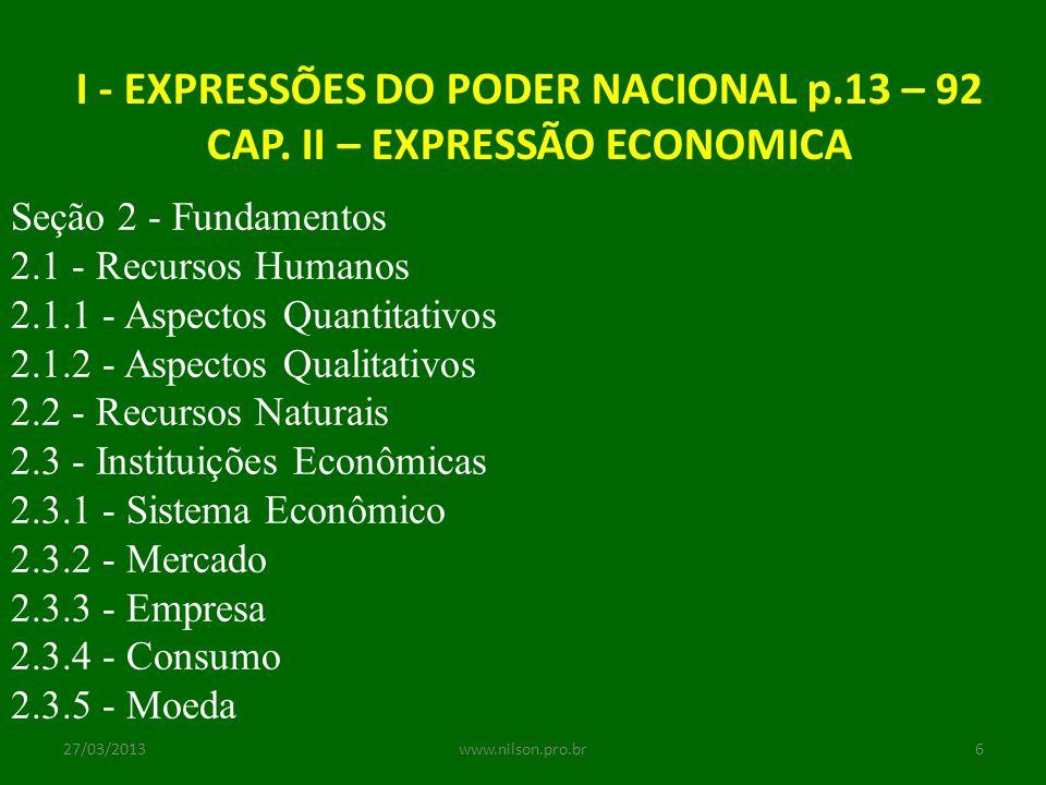 I - EXPRESSÕES DO PODER NACIONAL p.13 – 92 CAP. II – EXPRESSÃO ECONOMICA Seção 2 - Fundamentos 2.1 - Recursos Humanos 2.1.1 - Aspectos Quantitativos 2