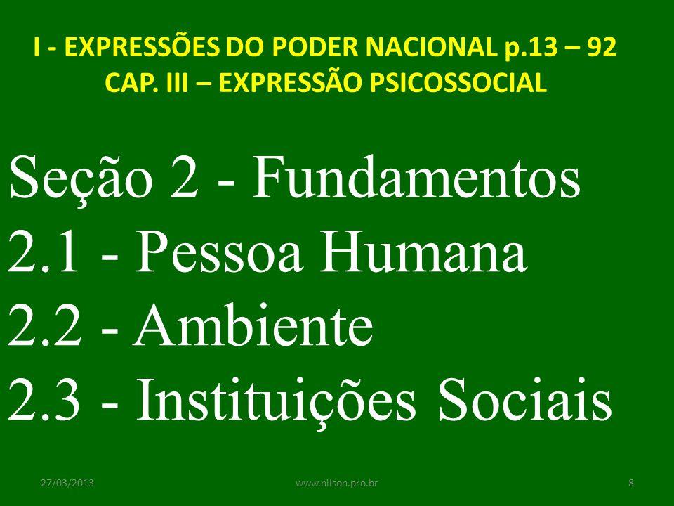 I - EXPRESSÕES DO PODER NACIONAL p.13 – 92 CAP. III – EXPRESSÃO PSICOSSOCIAL Seção 2 - Fundamentos 2.1 - Pessoa Humana 2.2 - Ambiente 2.3 - Instituiçõ