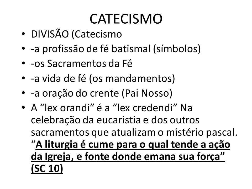 CATECISMO DIVISÃO (Catecismo -a profissão de fé batismal (símbolos) -os Sacramentos da Fé -a vida de fé (os mandamentos) -a oração do crente (Pai Noss