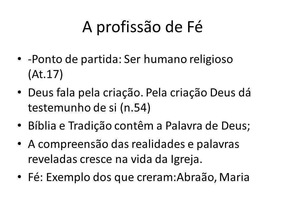A profissão de Fé -Ponto de partida: Ser humano religioso (At.17) Deus fala pela criação. Pela criação Deus dá testemunho de si (n.54) Bíblia e Tradiç