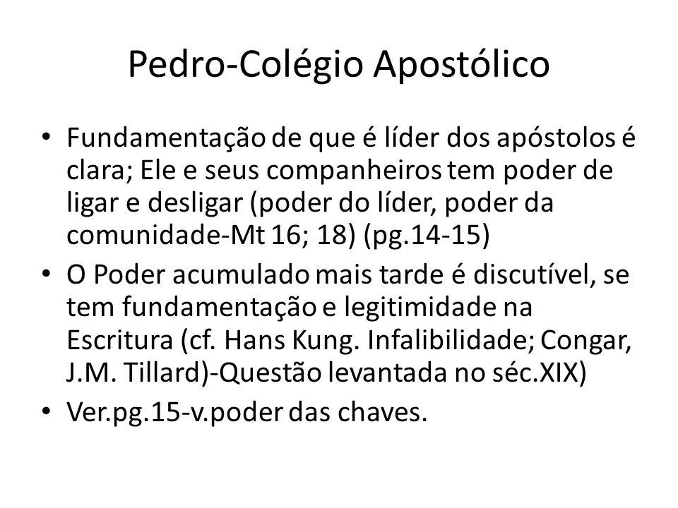 Pedro-Colégio Apostólico Fundamentação de que é líder dos apóstolos é clara; Ele e seus companheiros tem poder de ligar e desligar (poder do líder, po
