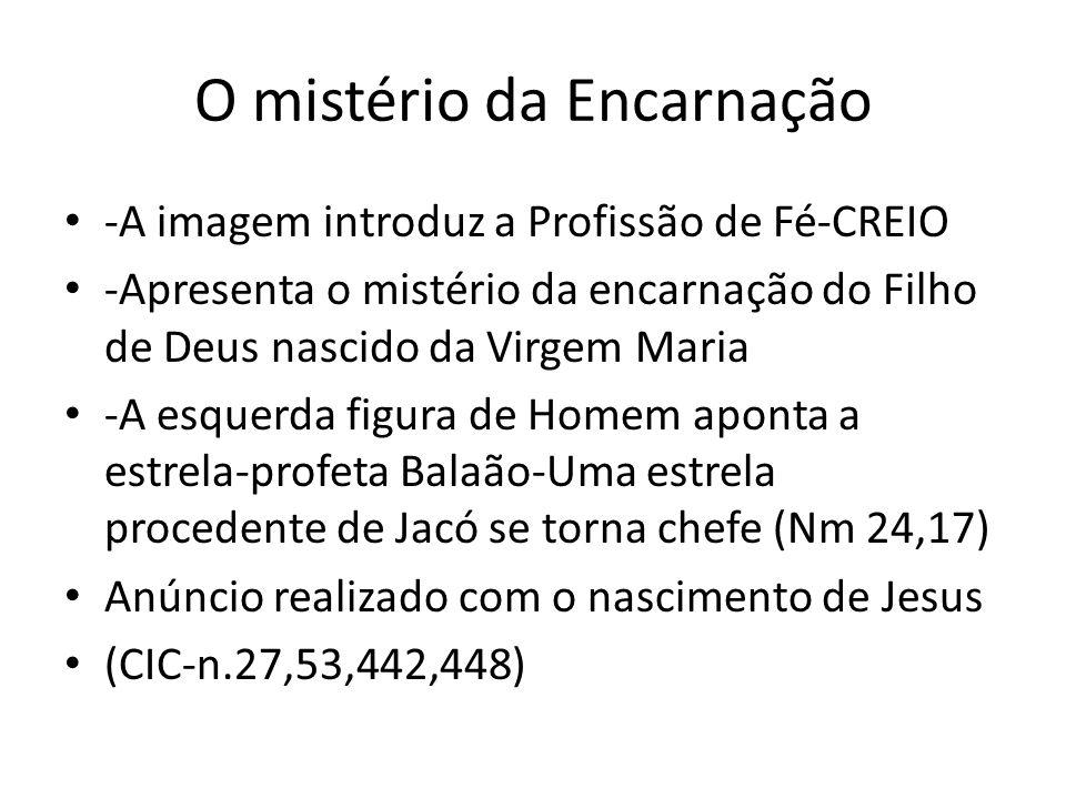 O mistério da Encarnação -A imagem introduz a Profissão de Fé-CREIO -Apresenta o mistério da encarnação do Filho de Deus nascido da Virgem Maria -A es