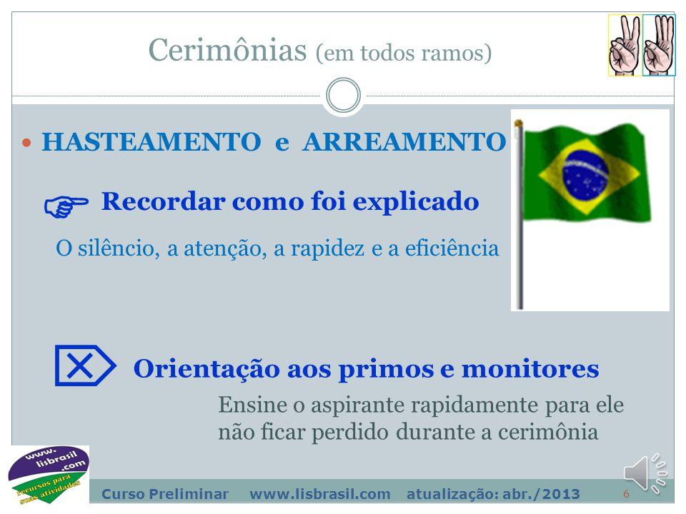 5 Curso Preliminar www.lisbrasil.com atualização: abr./2013 Sinais de apito Um apito = intendentes Recorde a explicação no pé do mastro  Um apito lon