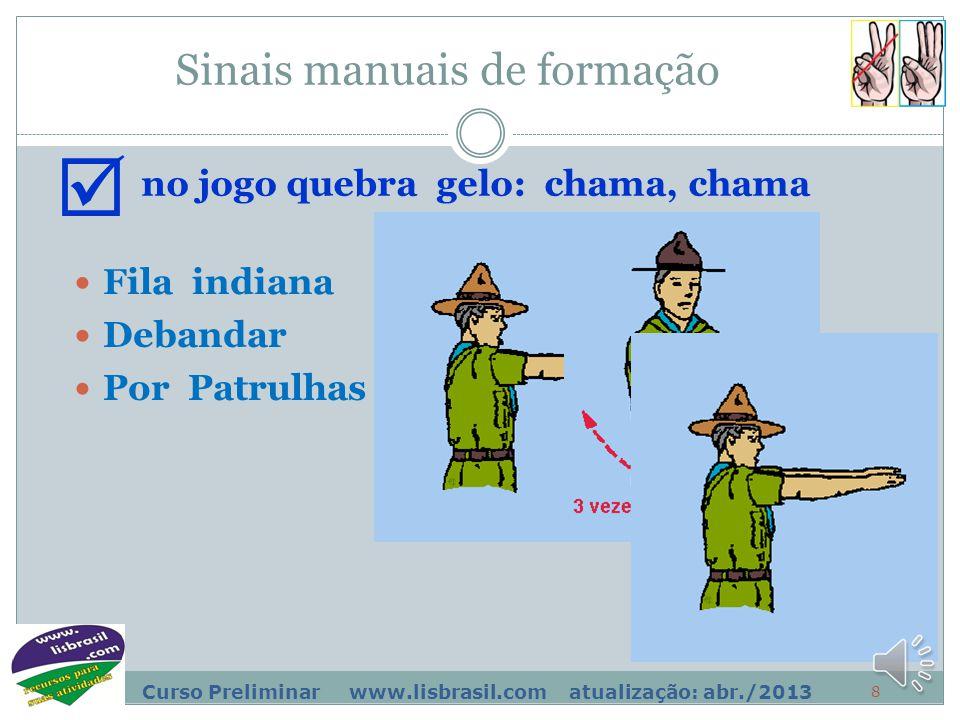 8 Curso Preliminar www.lisbrasil.com atualização: abr./2013 Sinais manuais de formação Fila indiana no jogo quebra gelo: chama, chama  Por Patrulhas Debandar