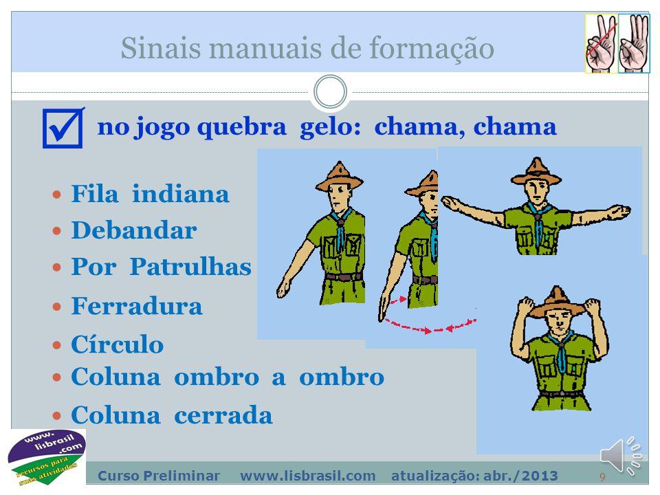 8 Curso Preliminar www.lisbrasil.com atualização: abr./2013 Sinais manuais de formação Fila indiana no jogo quebra gelo: chama, chama  Por Patrulhas