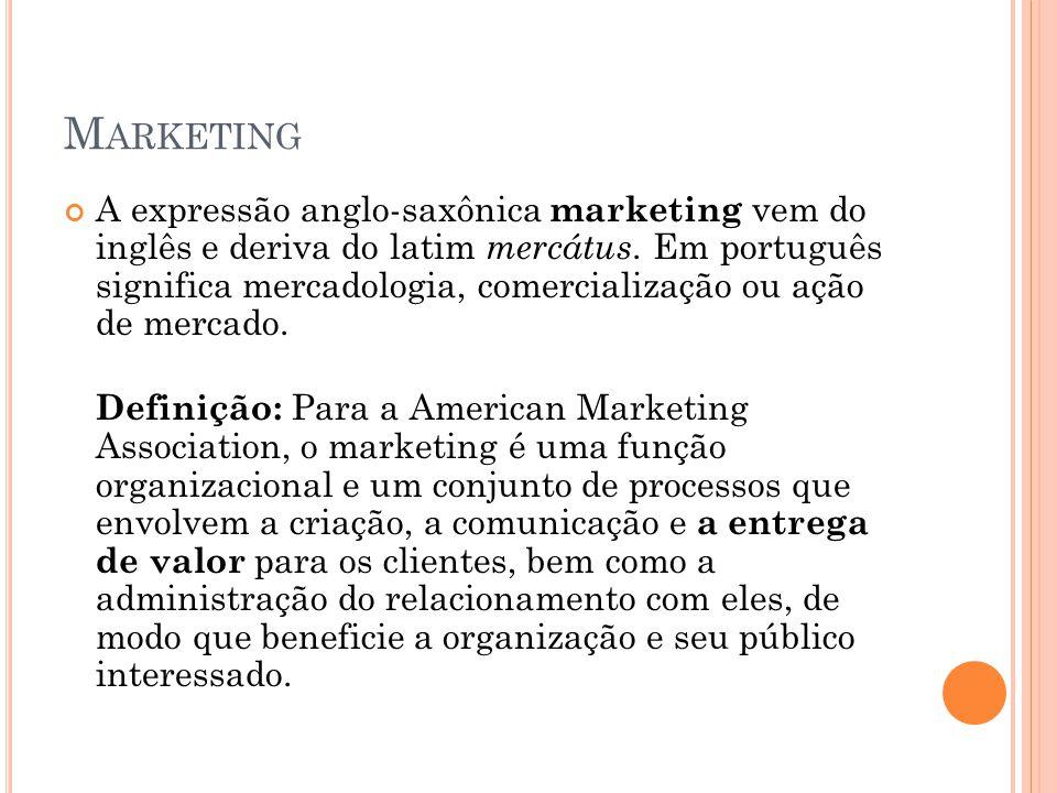 M ARKETING A expressão anglo-saxônica marketing vem do inglês e deriva do latim mercátus. Em português significa mercadologia, comercialização ou ação