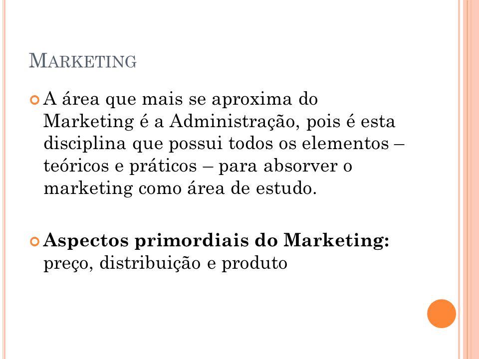 M ARKETING A área que mais se aproxima do Marketing é a Administração, pois é esta disciplina que possui todos os elementos – teóricos e práticos – pa