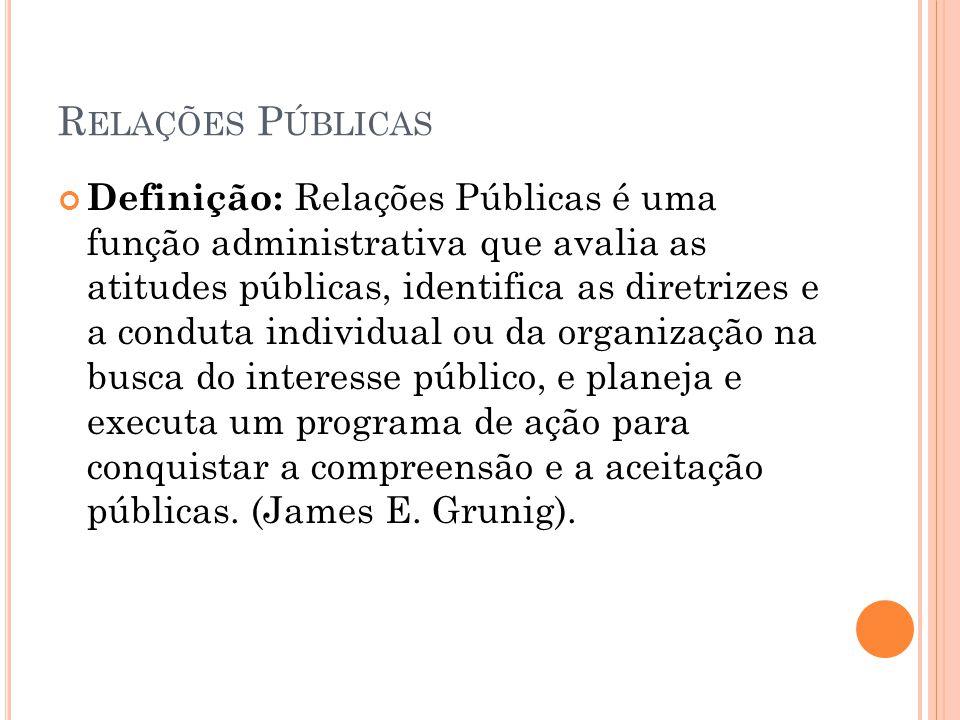 R ELAÇÕES P ÚBLICAS Definição: Relações Públicas é uma função administrativa que avalia as atitudes públicas, identifica as diretrizes e a conduta ind