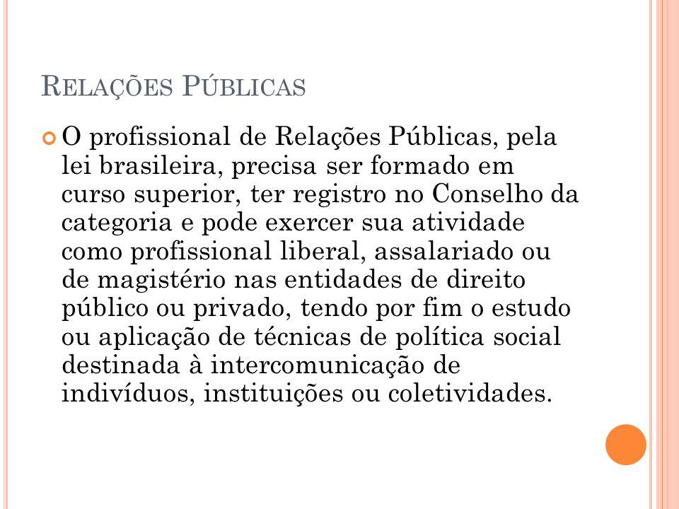 R ELAÇÕES P ÚBLICAS O profissional de Relações Públicas, pela lei brasileira, precisa ser formado em curso superior, ter registro no Conselho da categ