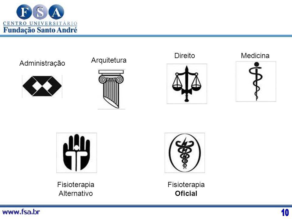 Administração Arquitetura DireitoMedicina Fisioterapia Alternativo Fisioterapia Oficial