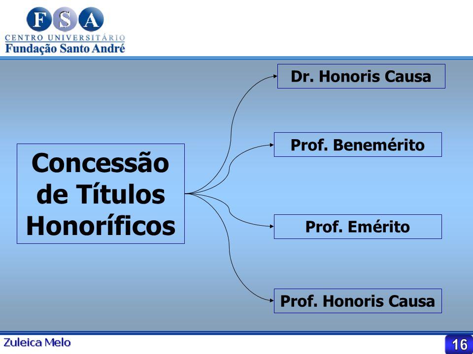 Concessão de Títulos Honoríficos Dr. Honoris Causa Prof. Benemérito Prof. Emérito Prof. Honoris Causa
